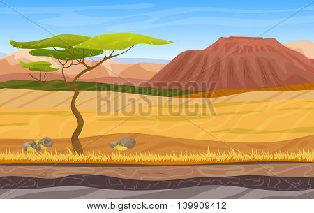 Seamless cartoon african panorama savanna landscape with tree, mountains, yellow grass and sand