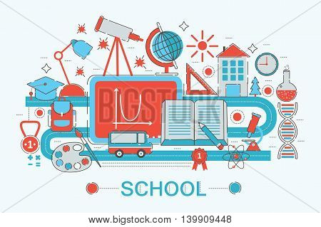 Modern graphic flat line design style infographics concept of School college with icons, for website, presentation and poster