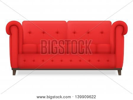 Red Leather luxury vintage living room sofa. Single isolated vector object for design