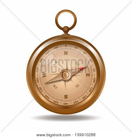 Elegant retro golden compass. Realistic vector illustration isolated on white background