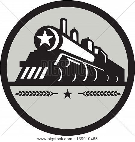 Illustration of a steam train locomotive viewed from front set inside circle with star and leaves done in retro style.