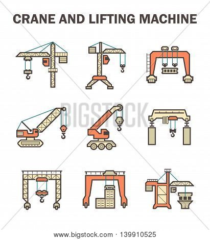 Crane and lifting machine icon set isolated on white background.