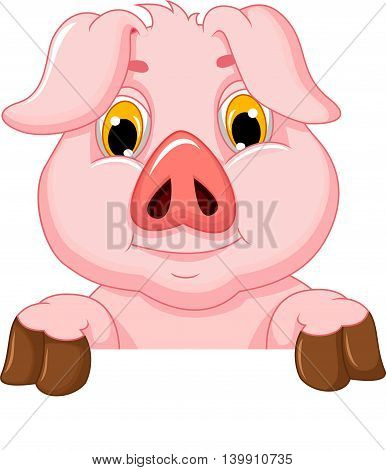 cute pig cartoon holding a blank board