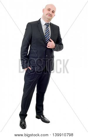 happy businessman full length, isolated on white