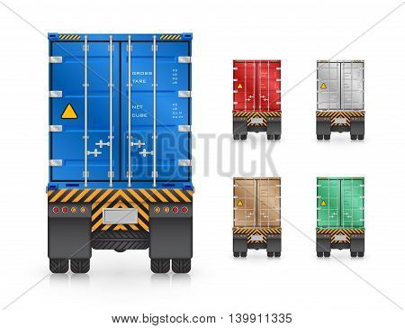 Vector of trailer truck and cargo container isolated on white background.