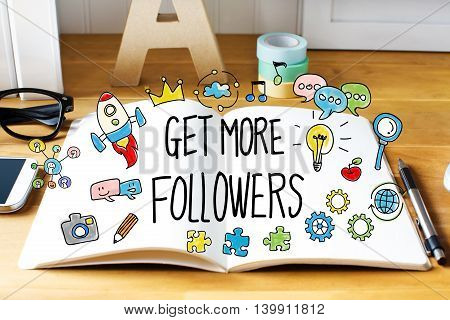Get More Followers Concept With Notebook