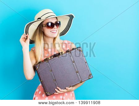 Happy Young Woman With Travel Theme