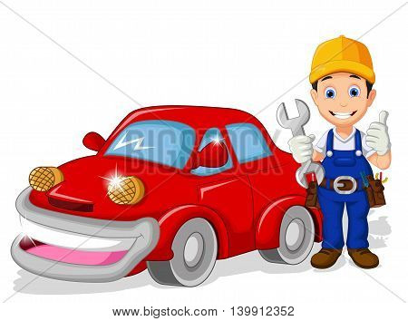 mechanic cartoon with car for you design
