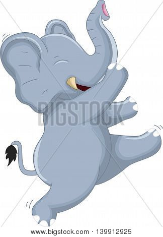 Happy Very Cute baby elephant dancing for your design