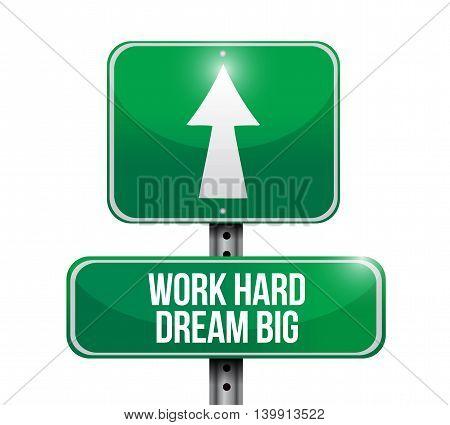Work Hard Dream Big Road Sign Concept