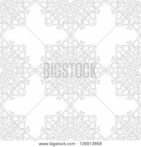 Black and white snowflake for coloring book. Seamless Christmas winter pattern. Vector illustration