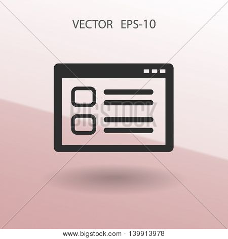 Flat long shadow Web window icon, vector illustration