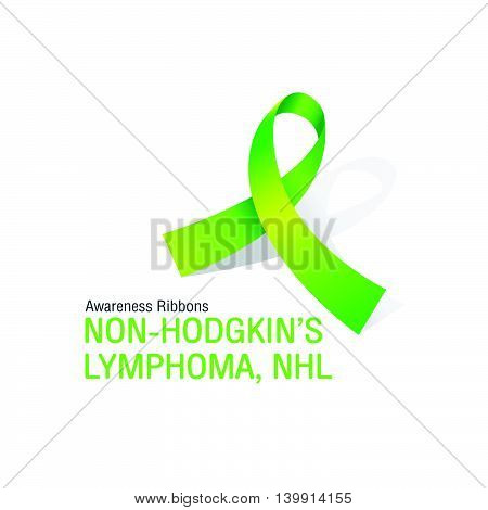 The Lemon Awareness Ribbons of Non-Hodgkin's Lymphoma, NHL cancer Vector illustration.