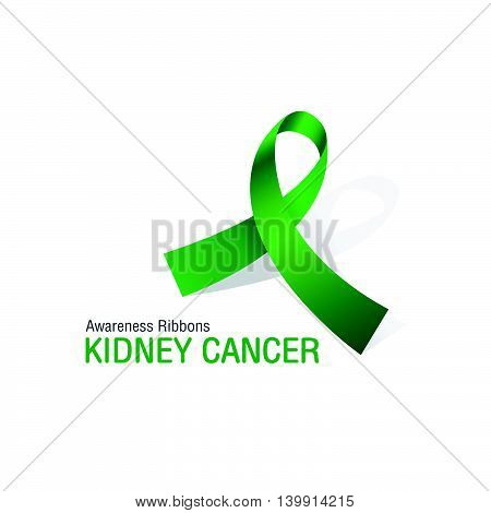 The Green Awareness Ribbons of Kidney cancer Vector illustration.