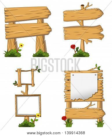 collection of wooden sign and signboard cartoon