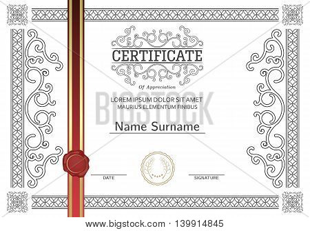 Premium certificate template and frame. Vector .