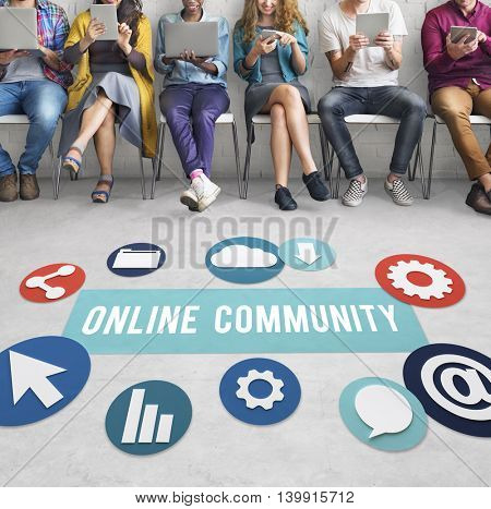 Online Community Networking Technology Concept