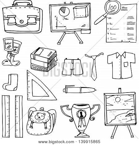 Doodle of classroom supplies vector art illustration