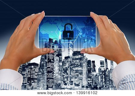 The girl looks at a virtual screen of a smartphone icon security.