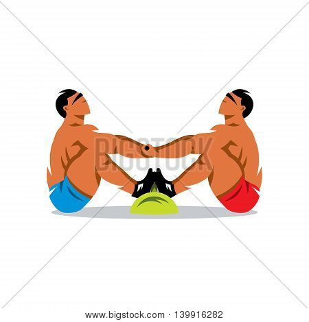 Two athletes are trying to pull each other beyond borders. Isolated on a White Background