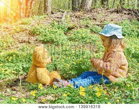 Cute Girl Playing With An Teddy Bear