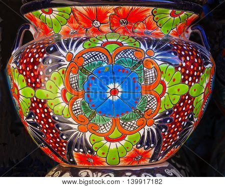 Colorful Souvenir Ceramic Blue Green Orange Flowers Pot Decoration Dolores Hidalgo Mexico