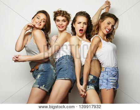 four stylish sexy girls best friends