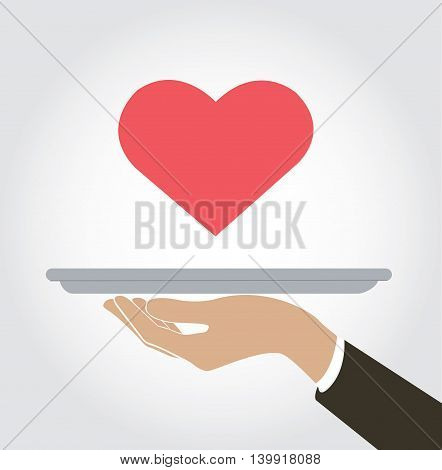 waiter serve a heart of love icon