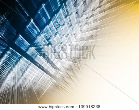 Abstract background element. Fractal graphics series. Three-dimensional composition of repeating transparent shapes. Information technology concept. Blue and yellow colors.