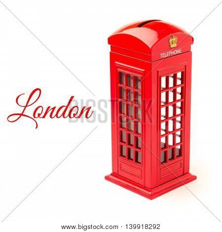 London telephone booth money box isolated on white background