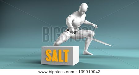 Cutting Salt and Cut or Reduce Concept 3D Illustration Render
