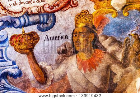 ATOTONILCO, MEXICO - DECEMBER 29, 2014 Mexican Indian Crown Fresco Sanctuary of Jesus Atotonilco Mexico. Built in the 1700s known as the Sistine Chapel of Mexico with Frescoes of Jesus Stories. Frescoes by Miguel Antonio Martinez between 1740 and 1775.