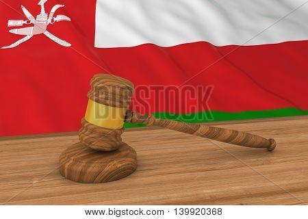 Omani Law Concept - Flag Of Oman Behind Judge's Gavel 3D Illustration