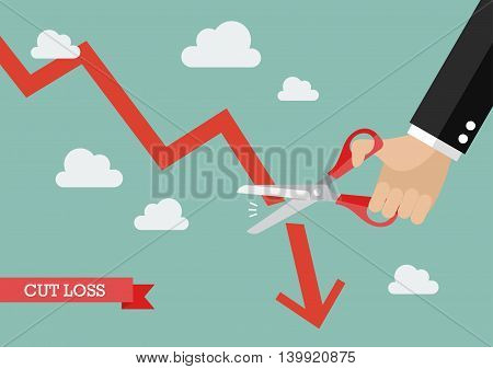 Business man cutting graph down. Business cut loss concept