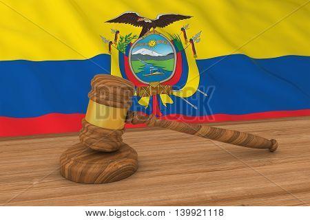 Ecuadorian Law Concept - Flag Of Ecuador Behind Judge's Gavel 3D Illustration