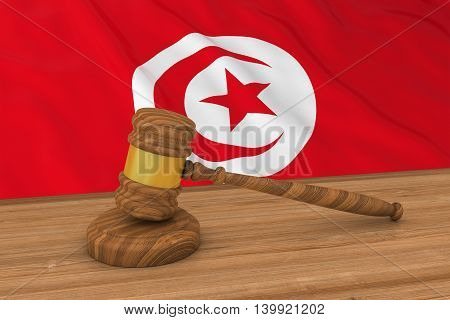 Tunisian Law Concept - Flag Of Tunisia Behind Judge's Gavel 3D Illustration