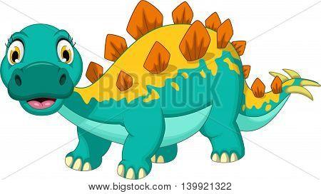 cute stegosaurus cartoon posing for you design