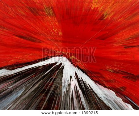 Original Abstract Oil Painting Red Mountain