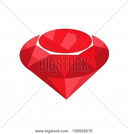 Ruby red jewelry. Vector illustration of precious gem stone in flat style isolated on white backgrond