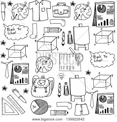 Collection stock doodles school education vector illustration