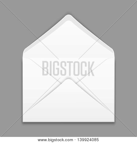 Blank envelope isolated on gray background vector design mockup. Paper opened envelope for business, illustration white envelope for letter and message