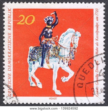 MOSCOW RUSSIA - CIRCA FEBRUARY 2016: a post stamp printed in DDR shows a horse statue the series
