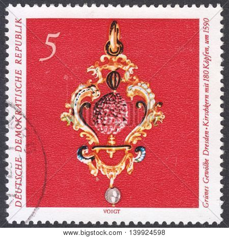 MOSCOW RUSSIA - CIRCA FEBRUARY 2016: a post stamp printed in DDR shows Cherry stone the series