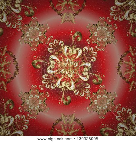 abstract pattern on red round gradient background with floral golden elements. Vector illustration.