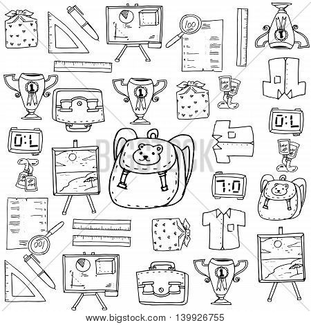 School element doodles collection stock hand draw