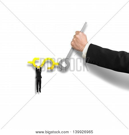 Grab On Money Sign Clock Hands With Another Holding