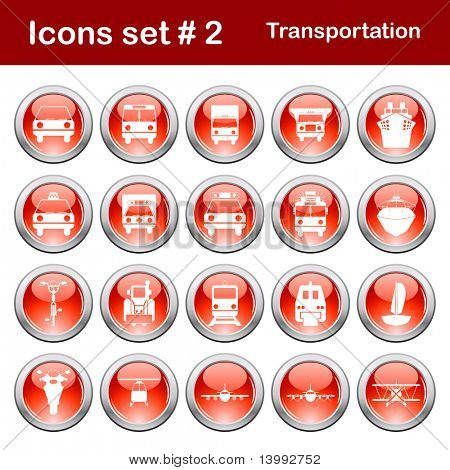 Transportation set of different vector web icons poster