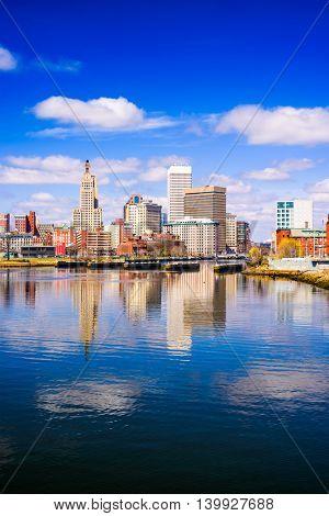 Providence, Rhode Island, USA city skyline on the river.