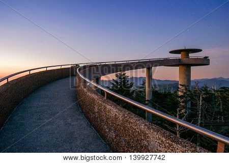 The observation deck of Clingman's Dome in the Great Smoky Mountains. poster