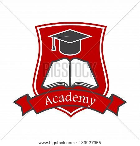 Academy shield emblem design with book, graduation cap and red ribbon. Vector crest icon for university, college, school. Education and study graphic illustration.